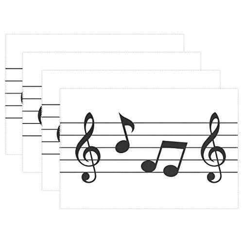 naanle Musik Notebook Piano Noten Platzdeckchen Set von 1/4/6waschbar Tisch Matte für Küche Esstisch 30,5x 45,7cm Platzsets Traditionell schwarz