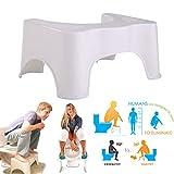 WC-Hocker Toilettenhocker Toilettenhilfe Tritthocker für eine bessere Körperhaltung auf der Toilette für Kinder oder Erwachsene rutschfest weiß