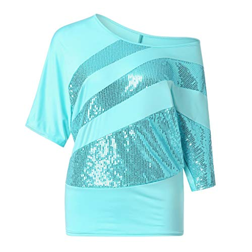 UFACE Damen Rundhals Pailletten Fledermaus Kurzarm T Shirt Frauen Causel Top Kalte Schulter Bluse Plus GrößE (3XL, Blau)