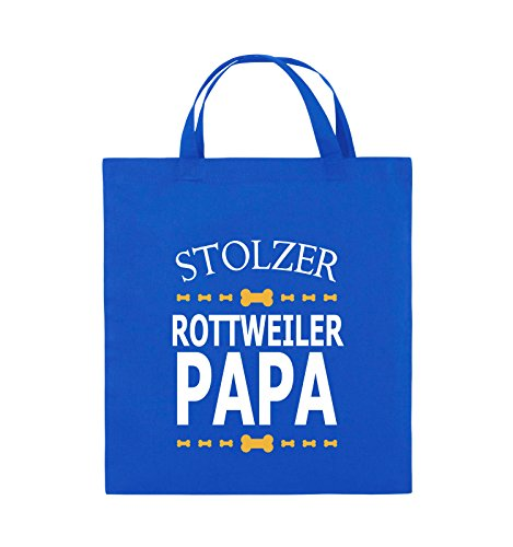 Comedy Bags - Stolzer Rottweiler Papa - Jutebeutel - kurze Henkel - 38x42cm - Farbe: Schwarz / Weiss-Neongrün Royalblau / Weiss-Gelb