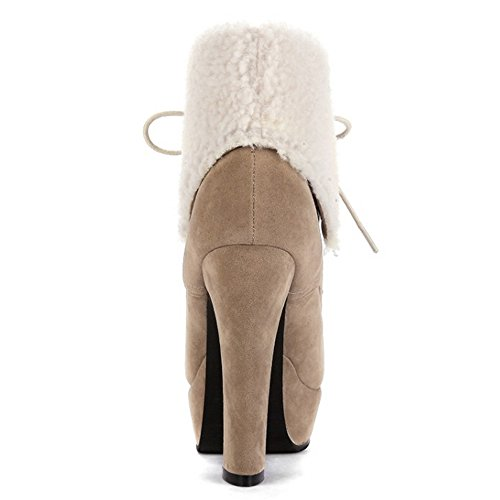 COOLCEPT Mode apricot Femmes Bottes Lacets waSxZzB