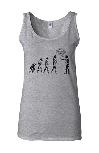 Stop Following Me Evolution Novelty White Femme Women Tricot de Corps Tank Top Vest Gris Sportif