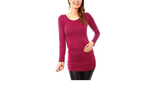 e2e2e5e0d0 Easy Young Fashion Women s Long Placket Slim Fit Men s Plain - Purple - UK  12  Amazon.co.uk  Clothing