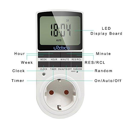 Digitale Timer, Zeitschaltuhr Täglich/Wöchentlich mit LCD-Bildschirm, 12/24H, 7 Tage, klassische Stromversorgung, energiesparend,Unodeco U002 - 3