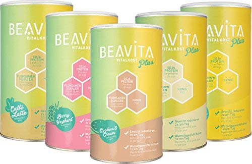 BEAVITA Vitalkost Plus - Pack Découverte Substitut De Repas En Shake 5 x 572g - Dans Votre Programme Minceur Goût Framboise/Yaourt Cookies Caffé Latte Mangue et Vanille Chai
