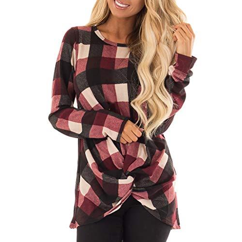 (Innerternet Damen Langarm Rundkragen T-Shirt Einfarbig Sexy Kariert Oberteil Elegant Lässige Pullover Sweatshirt mit Knot Side Twist Oversize Hemd Jumper Bluse)