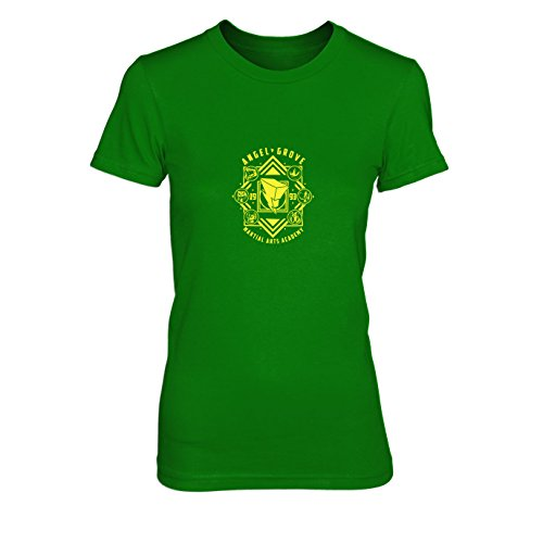 Angel Grove Academy - Damen T-Shirt, Größe: XL, Farbe: grün (Grüne Power Ranger Samurai Kostüm)