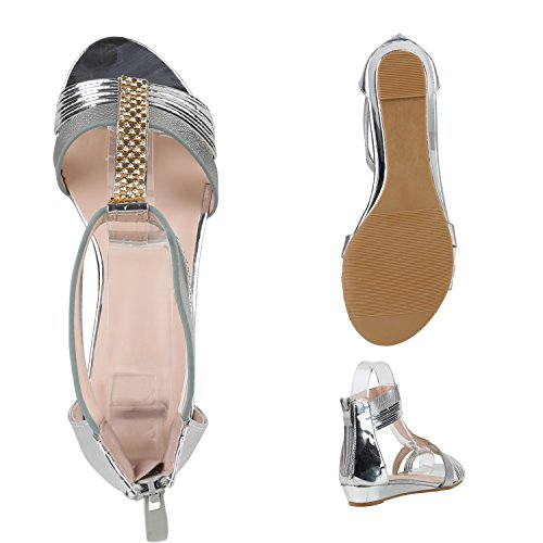 Damen Sandaletten Keilabsatz Metallic Strass Sommerschuhe Wedges Silber Strass