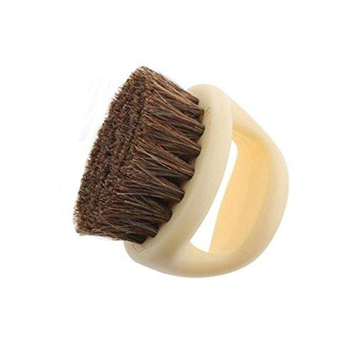 niceeshop (TM) Soft Horseshoe Horse Hair Brush for Shoes (Beige)
