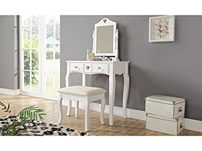 Heart Design Dressing Table & Stool Set with Mirror - White