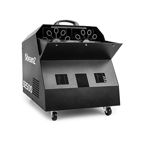 Beamz B2500 Bubble Double Maker Seifenblasenmaschine mit Fernbedienung für große Seifenblasen (2 Blasenräder, 2 leistungsstarke Gebläse, Netz-Betrieb) silber