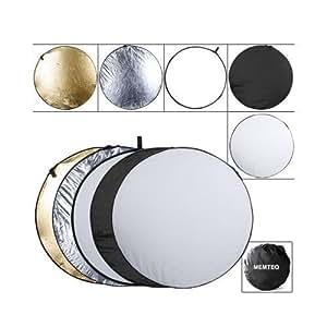 Faltreflektoren - 110CM Ø 5-in-1 Reflektor Set Gold Silber Weiß Schwarz und Diffusor für Studio Fotografieren mit Transporttasche Fotostudio Zubehör