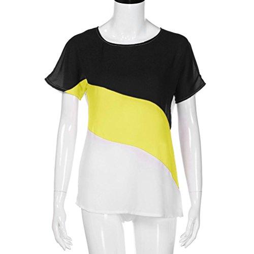 TWIFER Damen Farbblock Chiffon Kurzarm Bluse Shirts Tunika Sommer Tops (L, Gelb) - 2