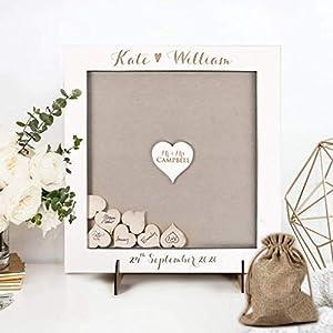 Alternative Gästebuch Hochzeit Weiss Holz Dropbox Rahmen mit Herzen Geschenk Geburtstag Taufe Alternative Drop Box Wood Vintage Gift