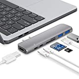 USB C HUB,Hotott für MacBook Pro USB Typ C Adapter mit 40Gbps Thunderbolt 3, HDMI 4K, SD/MicroSD Kartenleser/Power Delivery/USB 3.0/USB C Anschluss, für MacBook Pro 2018&2017&2016,MacBook Air 2018