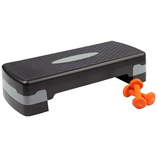 Ultrasport Aerobic Step/Stepper / Aerobic Fitness Stepper Incl. 2 Manubri In Vinile da 0,75Kg, Altezza Regolabile, Nero/Grigio