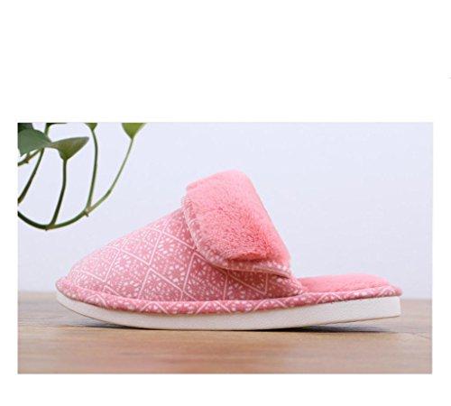 Chaussons Winter Warm Non-Slip Couple Pantoufles intérieures Hommes Chaussons en coton épais watermelon red