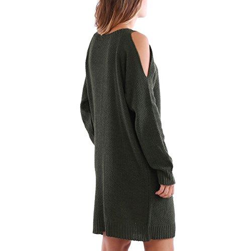 La Modeuse - Robe pull à col rond Kaki