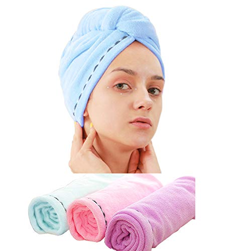 Kein Frizz-haar-produkte (Laicky 3 Pack Mikrofaser Haar Handtuch Wrap Super Saugfähig Twist Turban Schnell trockenes Haar Kappen mit Tasten Bad Schlaufe Befestigen Salon trockenes Haar Hat Pink Blau Lila)