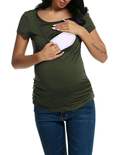 Unibelle donna maglieria per maternità maglietta per maternità camicia per maternità casual top t shirt manica corta verde l