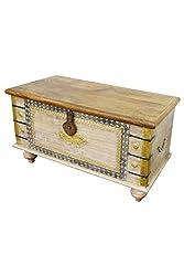 Orientalische Truhe Kiste aus Holz Baschira - 88cm groß   Vintage Sitzbank mit Aufbewahrung für den Flur   Aufbewahrungsbox mit Deckel im Bad   Betttruhe als Kissenbox oder Deko im Schlafzimmer
