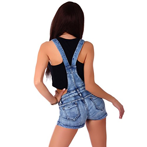 5936 Fashion4Young Damen Latzhose Hotpants Jeans Shorts kurze Hose Jeanslatzhose Blau