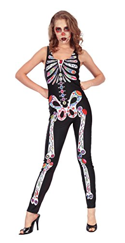 Bristol Novelty AC263 Tag der Toten Jumpsuit, Schwarz, UK ()