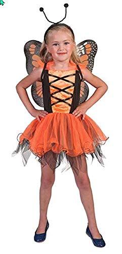 Pierro´s Kostüm Schmetterlingskind orange Märchen Mädchenkostüm Größe (Wald Märchen Kostüm)
