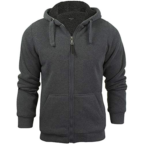 98a640db Brave Soul Zone Mens Zip Through Hoody Jumper - Charcoal Grey -X-Large