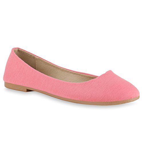 Klassische Damen Schuhe Ballerinas Flats 132984 Rosa Nude 38 Flandell