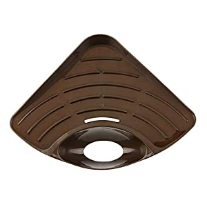 iUcar Hogar Fregadero de la Cocina en la Esquina Estante de Almacenamiento Organizador de Soporte de Esponja de Color sólido (café)