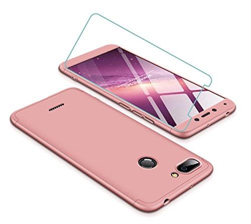 Joytag Funda Xiaomi Redmi 6 360 Grados Oro Rosa Ultra Delgado Todo Incluido Caja del teléfono de la protección 3 en 1 Case+Protectora de película de Vidrio Templado Oro Rosa