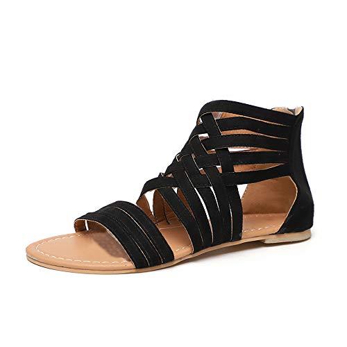Sandali Donna Bassi Estate Romano Gladiator Vacanza Scarpe Cerniera Open Toe Caviglia Leggero Sandals Nero EU38