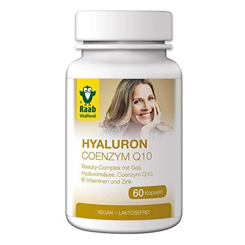 Raab Vitalfood Hyaluron-Säure Coenzym Q10, Beauty-Complex mit Hyaluronsäure, 60 Kapseln, mit B-Vitaminen aus Buchweizenkeimpulver Goji Zink, 30 g