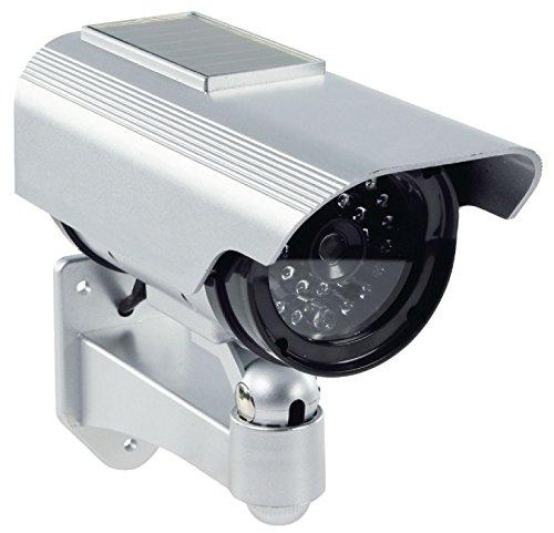 Profi Kamera Dummy Attrappe mit Solar Panel blinkender LED blinkende LED - Tolle Überwachungskamera CCTV IP44 Aussenbereich Kameraatrappe Innen Außen Fake Überwachung Haus Sicherheit Security
