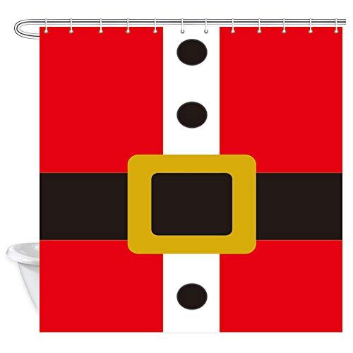 DYNH Weihnachtsmann Kleidung Duschvorhänge, Weihnachtsmann Kostüm Rote Robe mit schwarzen Knöpfen und Gürtel Badevorhang, Polyesterstoff Badezimmervorhang mit 12 Haken, 177,8 x 177,8 - Schwarzer Weihnachtsmann Kostüm