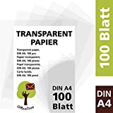 Foglio di carta trasparente A4 OfficeTree ® 100 fogli di carta trasparente A4 - 100 g/mq alta qualità bianchi - disegno, fai-da-te, biglietti di invito, menù, buoni, auguri - stampabili su ambo i lati