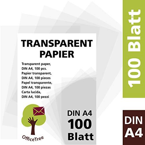 OfficeTree Transparentpapier 100 Blatt DIN A4 - zum Zeichnen, Basteln, Gestalten edler Hochzeitseinladungen, Speisekarten oder Gutscheine - beidseitig bedruckbar