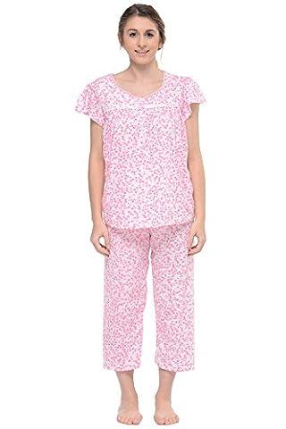 Casual Nights Women's Short Sleeve Smocked Floral Capri Pyjama Set - Pink - 3X
