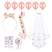 Wedding-Bridal-Shower-Accessories,Anbaituor 30 Pack Bride to Be Sash Wedding Veil With Comb Bride Tiara Badge Tattoos Balloons for Hen Do Party Supply Weekend Night Party Decoration (Rose Golden-30P)
