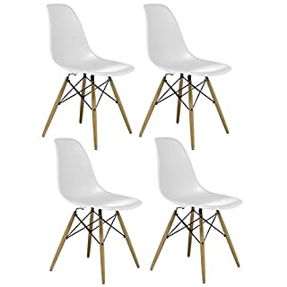 Charles & Ray Inspired Eiffel Retro Design Wood Style Chair for Office Lounge Dining Kitchen - White (4)