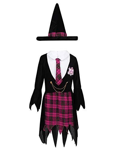 inlzdz Disfraz de Maga Capa Harry Niña Disfraz Bruja Cosplay Infantil para Hallowen Carnaval Vestido sin Manga Abrigo Largo con Sombrero Negro&Rosa Rojo 6-8Años