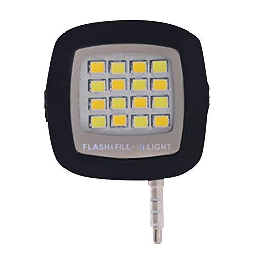 JuneKama 16pcs LED Mini Flash Fill Light per Telefono Cellulare Selfie Photography 3.5mm-Black