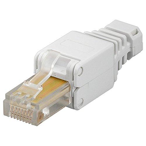 10 Stück Netzwerk-Stecker RJ45; werkzeugfreie, einfache Montage; für Cat6 und Cat5e Patchkabel; auch für starre Verlegekabel; [LAN Stecker, Patchstecker, Modularstecker]