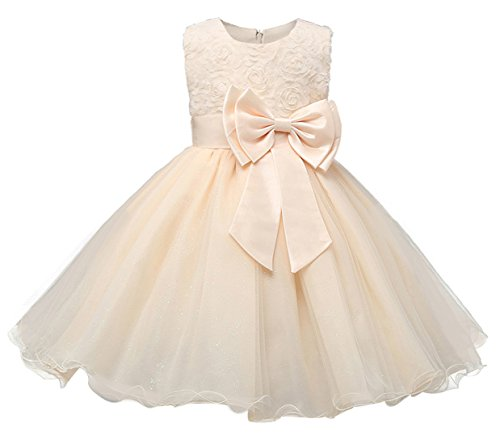 30883bbb1a75 FEOYA Wedding Dress for Girl Vestido de Princesa Elgante para Niñas sin  Mangas con Flor de 3D para Bebés Recién Nacido Cuello Redondo Traje de ...
