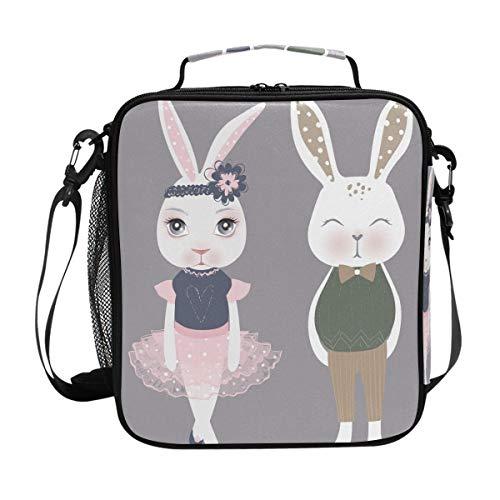 Süßes Tier Kaninchen Lunchtasche Essen Prep Lunchbox Kühler Schultergurt für Männer Frauen Kinder Jungen Mädchen groß isoliert Tasche Picknick Schule Büro