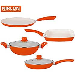 Nirlon Ceramic Cookware Set, 4-Pieces, Beige (123456)