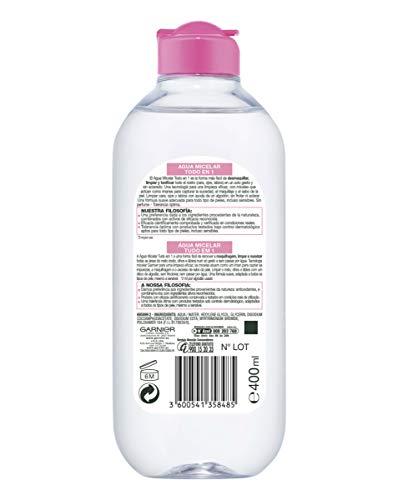 Garnier Skin Active Agua Micelar Clásica para Pieles Normales Todo en Uno -  2x400 ml + 1x100 ml