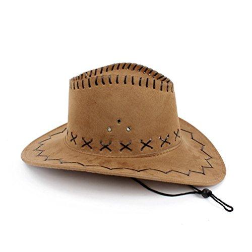 Nykkola Chapeau de cowboy authentique en daim unisexe