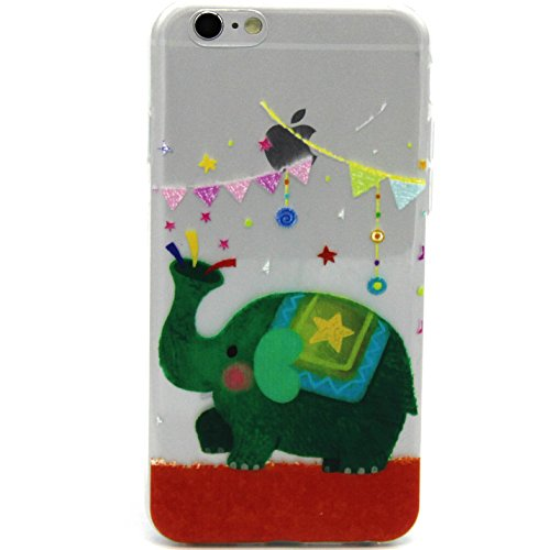 iPhone 5s 5 Hülle,iPhone 5s 5 Case [Scratch-Resistant] , ISAKEN iPhone 5s 5 Ultra Slim Perfect Fit Einzigartige Ozean Meer Design Niedliche Cartoon Malerei TPU Clear Transparent Protective back Hülle  Green Elephant